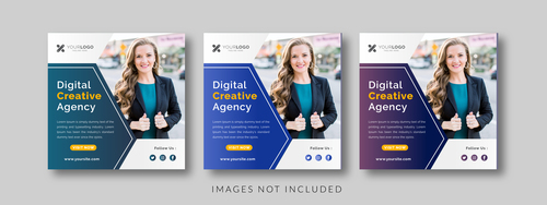 Digital creative agency social media template vector