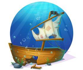 Dilapidated shipwreck cartoon vector