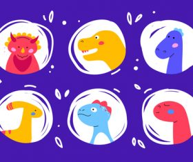 Dinosaurs faces set vector
