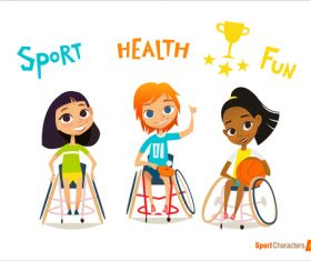 Disabled children sport cartoon illustration vector