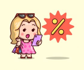 Discount shopping icon vector