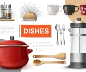 Dishes 3d illustration vector