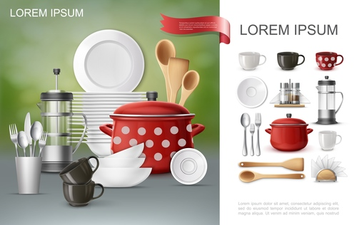 Dishes realistic 3d illustration vector