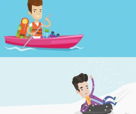Diving and skiing cartoon illustration vector
