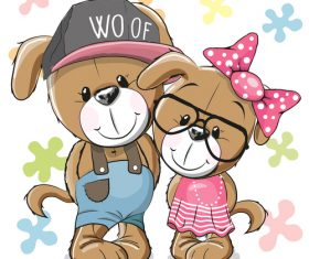 Dog couple cartoon illustration vector