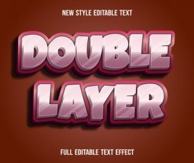 Double layer editable text effect vector