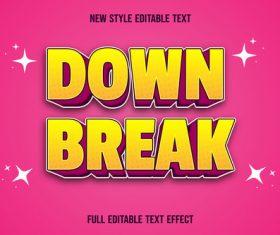 Down break editable text effect vector