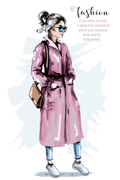 Draw illustration fashion style vector