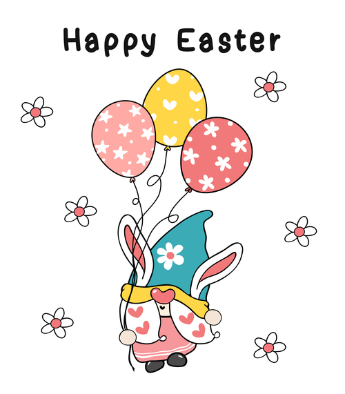Easter bunny ears gnome clipart vector