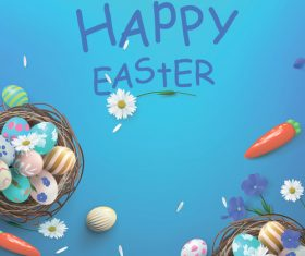 Easter eggs in a square basket vector