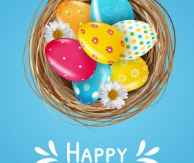 Easter eggs in the basket vector
