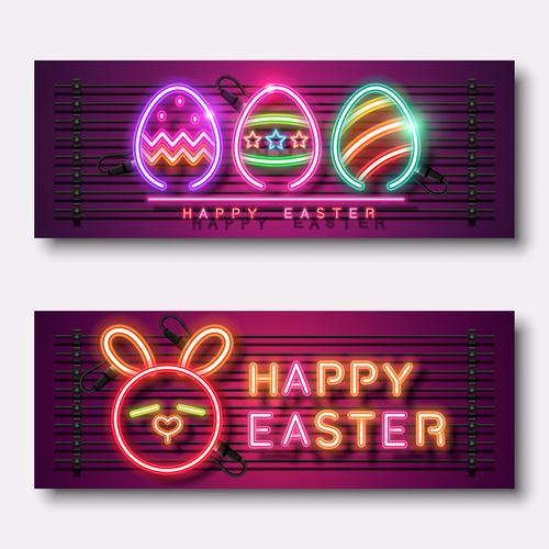 Easter neon banner vector