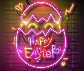 Easter neon egg vector