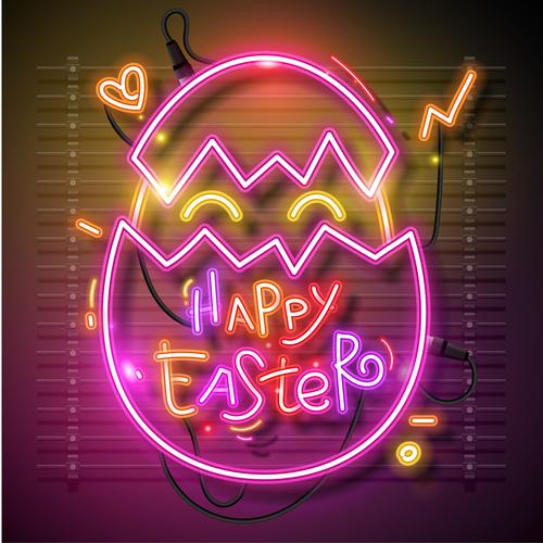 Easter neon egg vector
