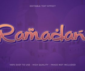 Editable text effect Islamic holiday font style vector