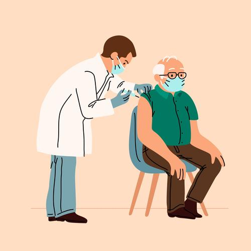Elderly people vaccinating vaccine cartoon illustration vector