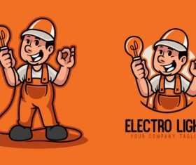 Electric light cartoon character vector