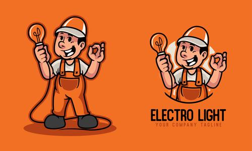 Electric light cartoon character vector
