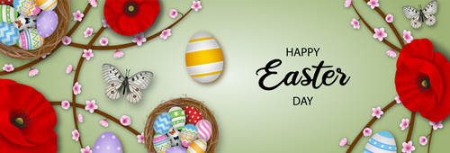 Elegant easter banner illustration vector