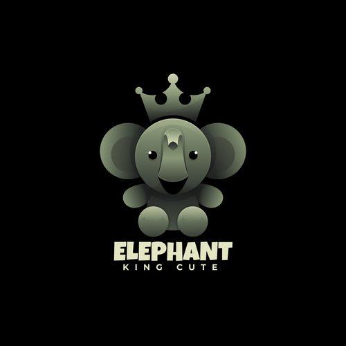 Elephant king logos vector