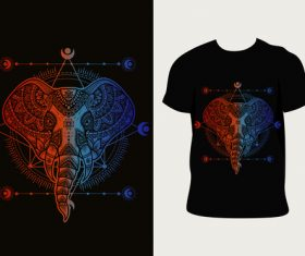 Elephant pattern T-shirt printing vector