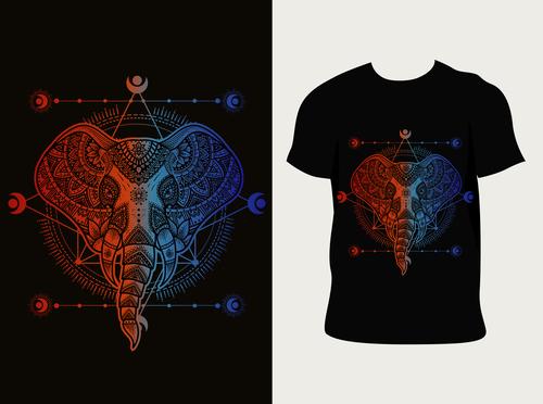 Elephant pattern T shirt printing vector