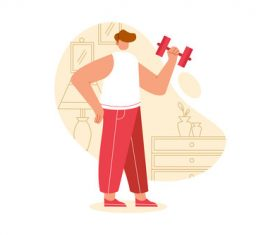 Exercise at home cartoon illustration vector