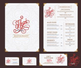 Exquisite Thai menu cover vector