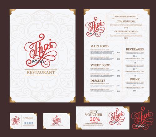 Exquisite Thai menu cover vector