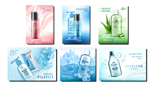 Facial cleanser series cosmetic advertising vector