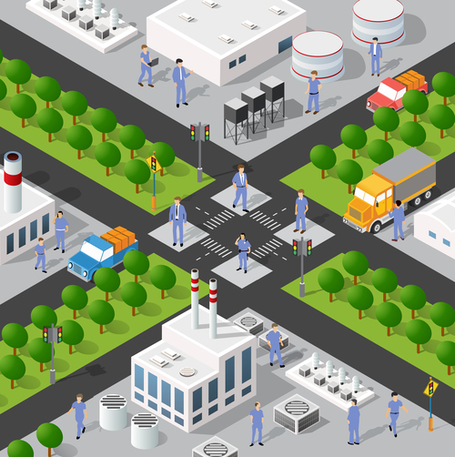 Factory street isometric 3d illustration vector