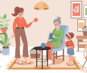 Family life cartoon illustration vector