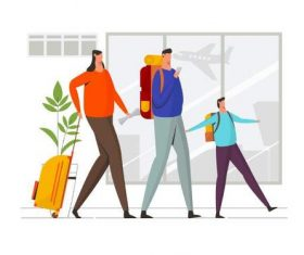 Family trip illustration vector