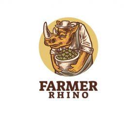 Farmer rhino logo vector