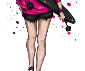 Fashion skateboard girl back view vector