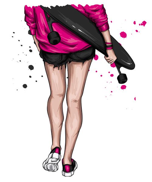 Fashion skateboard girl back view vector