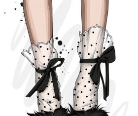 Fashionable shoes and accessories watercolor illustration vector