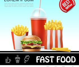 Fast food 3d illustration vector