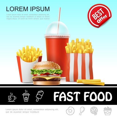 Fast food 3d illustration vector