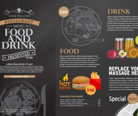 Fast food menu card vector