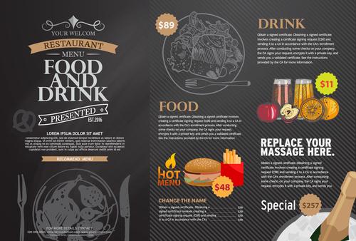 Fast food menu card vector