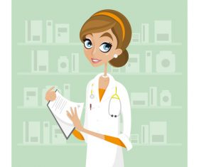 Female doctor cartoon illustration vector