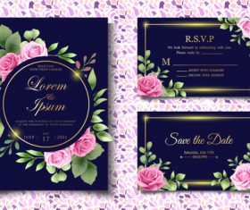 Festive wedding invitation card vector