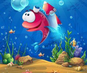 Fish carrying a rocket vector