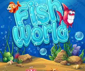 Fish world cartoon vector