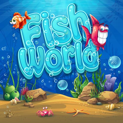 Fish world cartoon vector