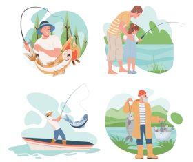 Fishing enthusiast cartoon illustration vector