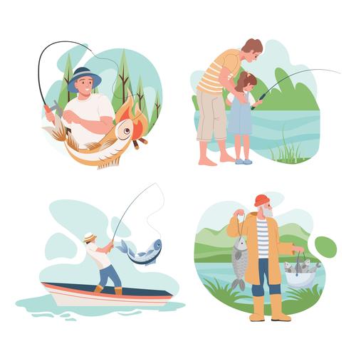 Fishing enthusiast cartoon illustration vector