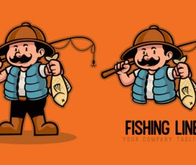 Fishing line cartoon character vector