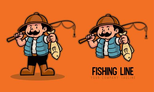 Fishing line cartoon character vector
